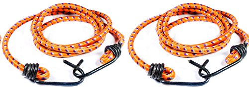 Heavy Duty Multicolour 8 Feet Elastic Rope with Metal Hook (Pack of 2)