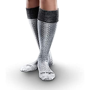 Core-Spun Patterned AFO Interface Socks for Adults - Classic Diamond, Grey & Black, Adult Regular