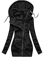 EOPUING Women's Turtleneck Hoodie Jackets,Casual Floral Pattern Hooded Pullover Zip Up Drawstring Sweatshirt Coat with Pocket