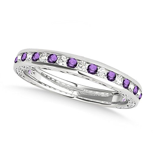 Diamond and Amethyst Channel Set Wedding Band 14k White Gold (0.45ct) Amethyst Channel Set