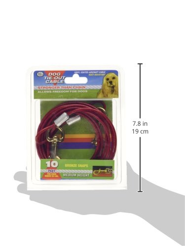 FOUR PAWS PRODUCTS 456900 Red Cable Dog Tieout, 10-Feet