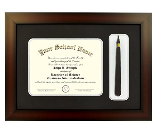 Mahogany Finish Infinity Diploma Frame with Tassel Box and Black and Silver Mats by Celebration Frames (8.5 x 11)