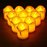 CITRA Flameless LED Melting Candles Battery Powered Flickering Fake Candles, Diwali Lights for Decoration Diyas, Realistic Tealight Candles in Warm White - Pack of 12