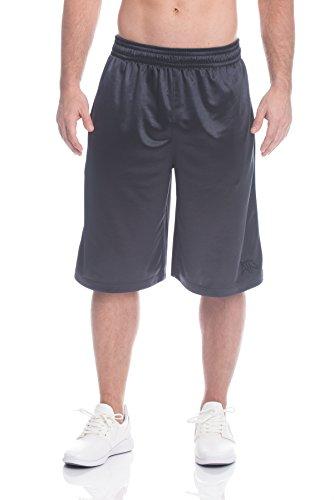 Above the rim Men's Mesh Basketball Shorts - Workout & Gym Shorts for Men - Starting 5 - Ebony Black, Small