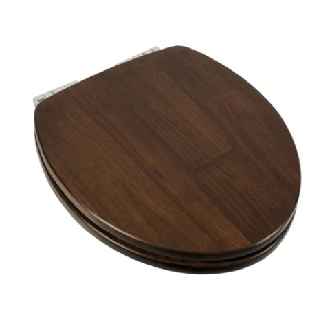 Comfort Seats C1B1RS-19CH Solid Wood Round Toilet Seat Piano Finish with EZ Close Chrome Hinges, Walnut
