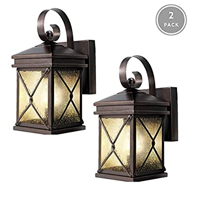 NOMA 2-Pack Outdoor Wall Lantern | Waterproof Outdoor Down-Facing Exterior Lights for Front Door, Backyard, Garage, Patio or Décor | Bronze Finish with Clear Seeded Glass Panels, 2-Pack - HIGH QUALITY BRIGHT LIGHTING: Outdoor light fixtures that only require a 60W Medium Base or 13W CFL bulbs. Add these warm bright lights to your Front Gate, Porch, Deck or Pool to create a welcoming ambience for all of your guests STYLISH DESIGN: Exterior down-facing lights with a clear seeded glass shades & elegant bronze finishing adds a perfect touch to your outdoor living space EASY DIY INSTALLATION: Simply mount the porch lights onto the wall for an easy, quick, & safe installation then enjoy greeting your guests into a warm and welcoming atmosphere. Mounting hardware included in packaging - patio, outdoor-lights, outdoor-decor - 41 AbLhVF7L. SS400  -