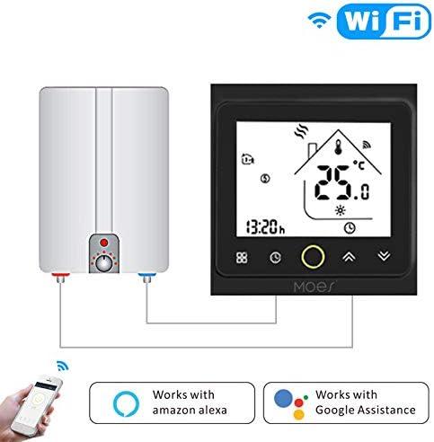 Contr/ôleur de temp/érature MOES Smart Thermostat WiFi Panneau en m/étal bross/é Smart Life//APP Tuya T/él/écommande pour le chauffage de chaudi/ère /à gaz Eau Compatible avec Alexa Accueil Google