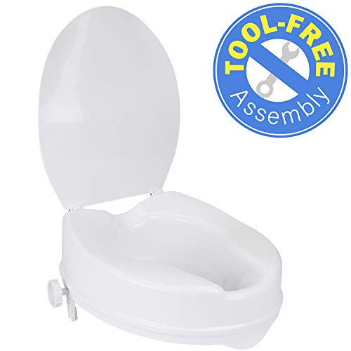 Strange Aquasense Raised Toilet Seat With Lid White 4 Inches Buy Alphanode Cool Chair Designs And Ideas Alphanodeonline