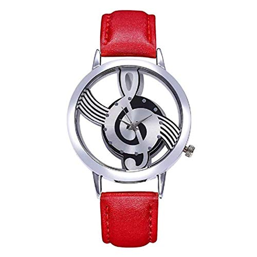 Fashion Clearance Watch! Noopvan Women's Music Note Quartz Watches Ladies Casual Leather Band Wristwatch Elegant Watch Round Analog Wrist Watches for Women Watches on Sale (Red)