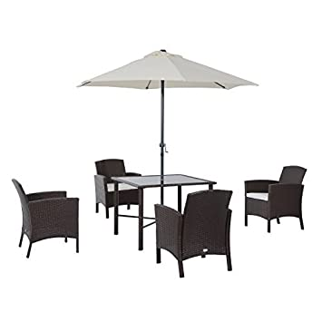 Outsunny 6 Piece Outdoor Patio Rattan Wicker Table, Chair And Umbrella Set