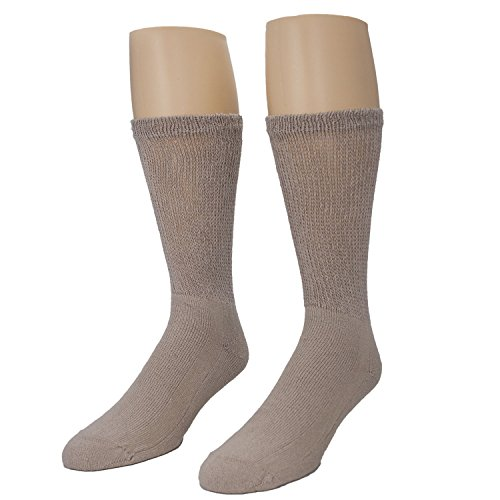 (Men's Diabetic Crew Socks 13-15 - Cotton Blend Physician's Choice Seamless 12 Pack Tan Made In USA)