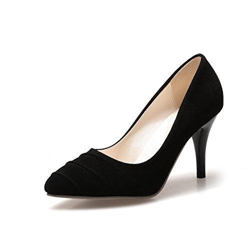 Balamasa Da Donna Chaussures À Talons Hauts Imitation Scamosciata Pumps-shoes, Nero (noir), 35