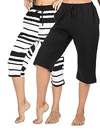 WEWINK CUKOO 100% Cotton Women Pajama Capri Pants Lounge Pants with Pockets Sleepwear