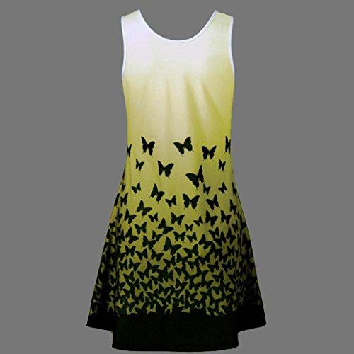 Beikoard Vestito Elegante Casual Stampa Senza Farfalla Abbigliamento Giallo Abito Con Donna Maniche Da Vintage 4AAnHxrqE