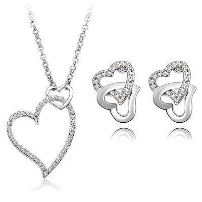 Blanc Mariage cœurs en cristal mariée Parure de bijoux boucles d'oreilles clous et collier S507