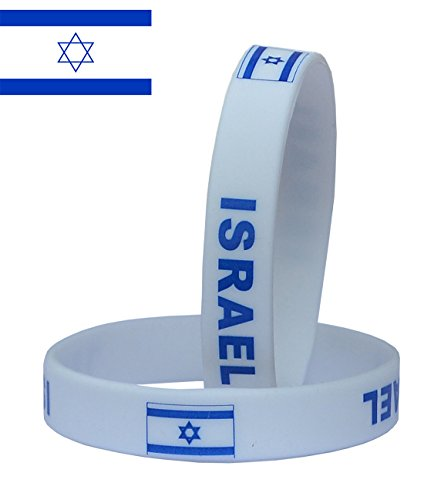 (VEWCK Flag Silicone Bracelet Classic Bangle Letter Pattern 40 Countries 2-Pack (Israel-Blue))