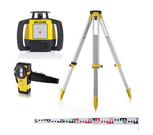 Leica Rugby 610 Outdoor Rotary Laser Level Kit with Staff and Tripod