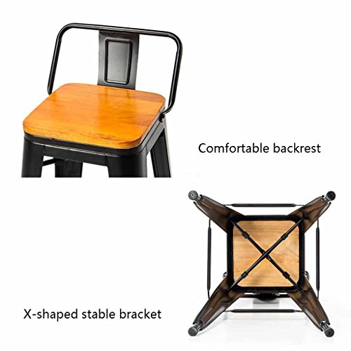 Amazon.com: Metal Bar Stools Kitchen Breakfast Dining Chair Wooden Seat Pub Industrial Vintage Style Backrest Footrest Furniture Counter Tall Chairs Home: ...