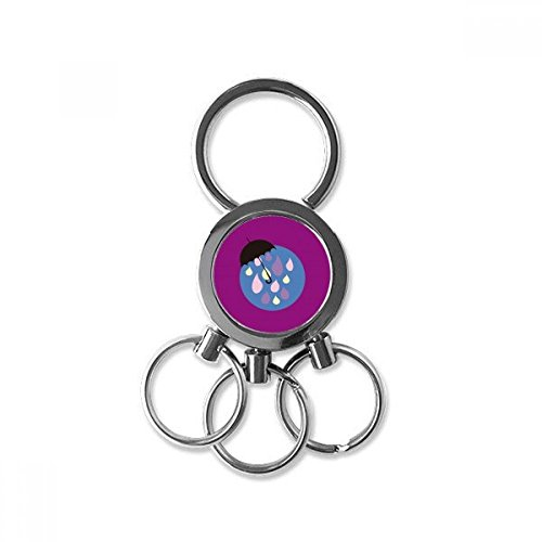 Umbrella Cloud Rain Drip Weather Stainless Steel Metal Key Chain Ring Car Keychain Keyring Clip Gift from DIYthinker