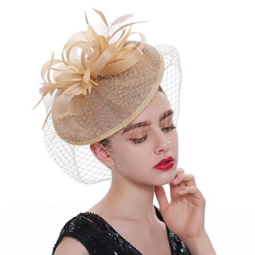 LATIMOON Sinamay Fascinators Kentucky Derby Headband Bridal Wedding Hats Tea Party Headwear for Women and Girls (A-Gold) -
