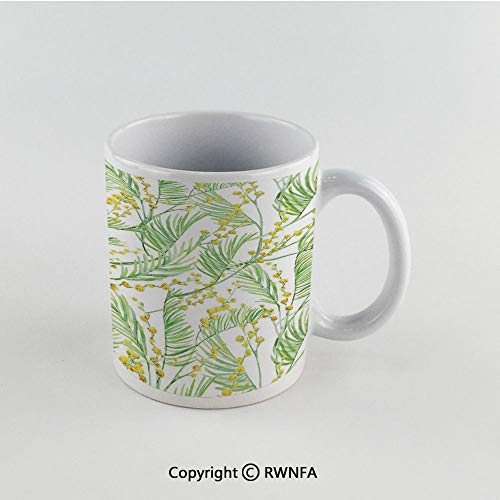 11oz Unique Present Mother Day Personalized Gifts Coffee Mug Tea Cup White Yellow Flower,Delicate Spring Mimosa Pattern Drawing Style Rustic Countryside Flora Decorative,Yellow Pale Green Funny Ceram