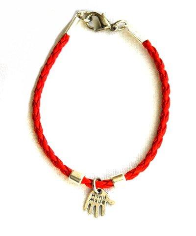 Hamsa Bracelet avec Charms Argent en cuir rouge pour enfants par mizze