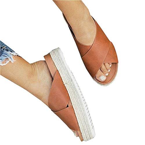 JOYCHEER Womens Platform Espadrilles Open Toe Crossed Faux Leather Slip On Slides Sandals, A - Brown, Size ()