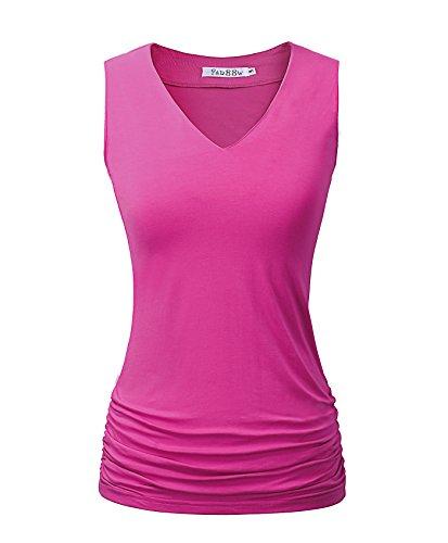 Women Tunic Tops Shirring Shirts For Women V Neck Tunic Rose Red 2XL