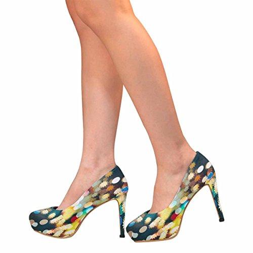 InterestPrint Womens Classic Fashion High Heel Platform Pumps Abstract Christmas Light 7W1U8Pfx