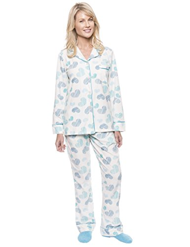 Noble Mount Women's Microfleece Pajama Set - Scribbled Hearts White/Blue - Large (Hearts Scribbled)