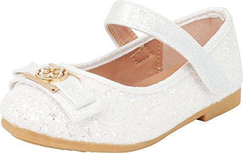 Cambridge Select Girls' Round Toe Glitter Crystal Rhinestone Bow Mary Jane Ballet Flat (Toddler/Little Kid/Big Kid),12 M US Little ()