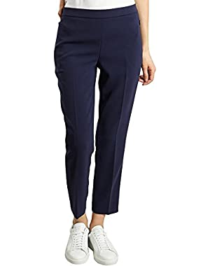 Straight Cropped Trousers 59510 Navy Blue