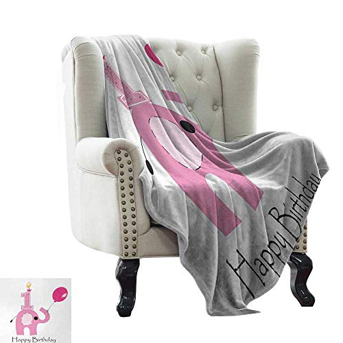 BelleAckerman Cool Blanket 1st Birthday,Minimalist Design with Cute Elephant and Baby Girl Party Theme,Lilac Pale Pink and White Super Soft and Warm,Durable Throw Blanket 50