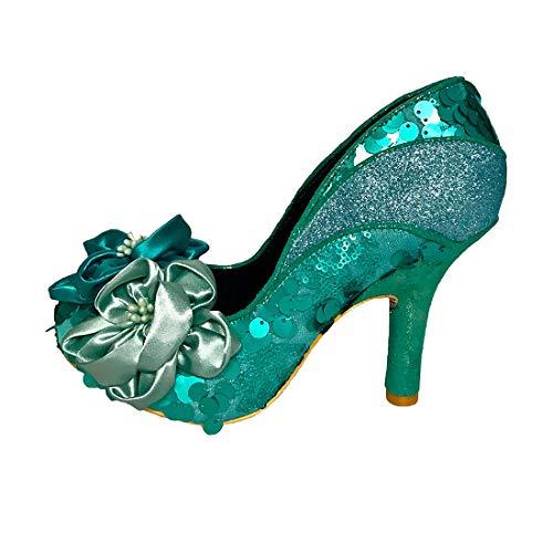Mujer Melba Verde De Para Tacón Peach Cerrada Punta Irregular Zapatos Menta Choice Con FxvTUp