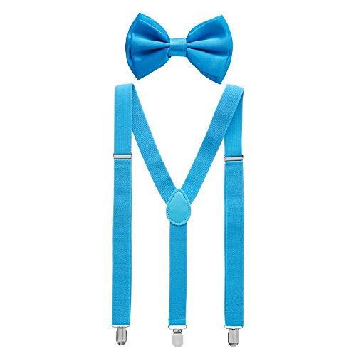 Man of Men - Men's Baby Blue Bowtie & Suspender Set
