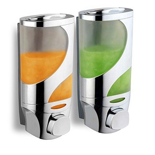 Double Sided Tab Dispenser - HotelSpaWave Luxury Soap/Shampoo/Lotion Modular-Design Shower Dispenser System (Pack of 2)