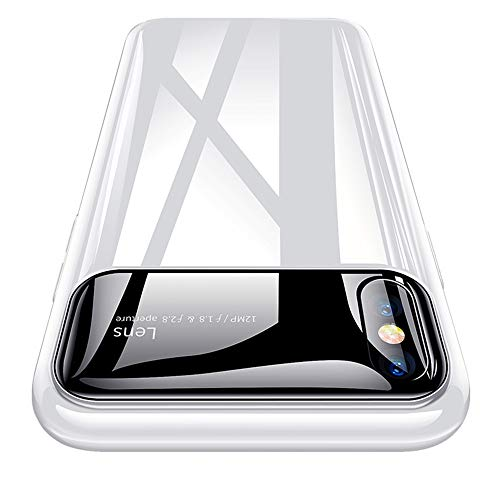 OTOFLY Mirror Surface Series Case for iPhone X/iPhone Xs, Ultra Thin Slim Fit Anti-Scratch Hard Plastic Bumper Clear Back Protective Cover Compatible with iPhone X/Xs 5.8 inch, White