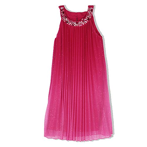 (Speechless Girls' Big Pleated Swing Dress with Jeweled Neck, Raspberry Pink)