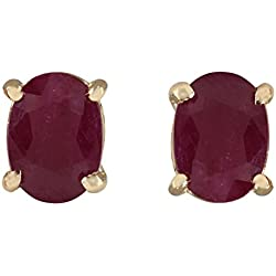 1.80 Carat Natural Red Ruby Earrings 14K Solid Yellow Gold