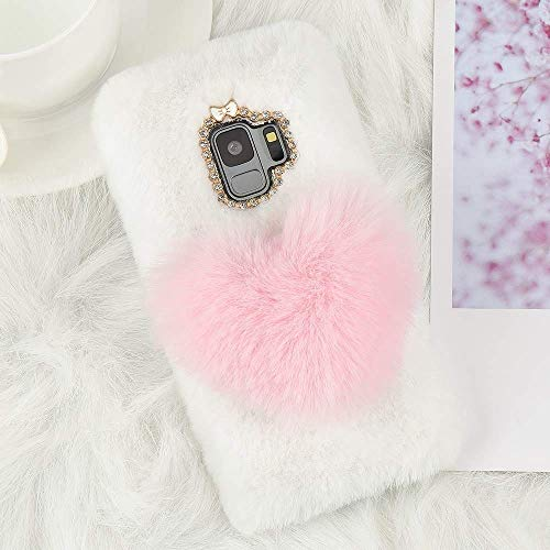 for Samsung Galaxy S9 Super Fashion Love Heart Design Faux Furry Case Shockproof Soft Cover with Bowknot Bling Diamond Girly Chic Protective Back Bumper Shell Cover, Pink & White