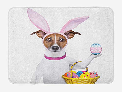 Weeosazg Easter Bath Mat, Dog Dressed up as Easter Bunny Holding a Basket of Eggs Funny Animal Illustration, Plush Bathroom Decor Mat with Non Slip Backing, 23.6 W X 15.7W Inches, Multicolor]()
