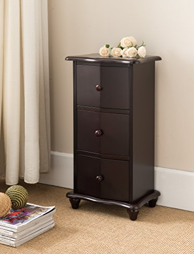 Kings Brand Furniture Dark Cherry Finish Wood 3 Drawer Accent Cabinet Chest by Kings Brand Furniture (Image #4)