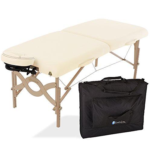 "EARTHLITE Avalon Portable Massage Table Package Flat – Reiki Endplate, Premium Flex-Rest Face Cradle & Strata Cushion, Carry Case (30""x73"")"