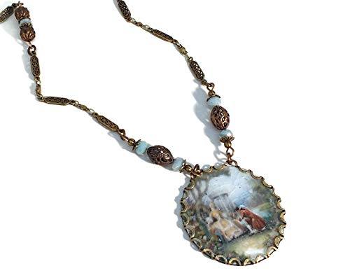 Pale Blue Limoges of a Courting Couple Necklace, Brass Filigree, Victorian Style, Steampunk, Unique One of a Kind 1 Cameo Pendant Necklace