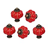 uxcell Home Office Furniture Ceramic Pumpkin Shape Pull Handle Knob Red 5pcs