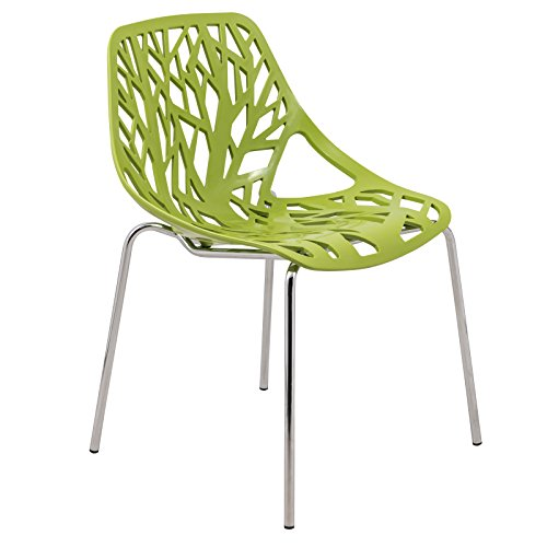 LeisureMod Modern Asbury Dining Chair with Chromed Legs, Green