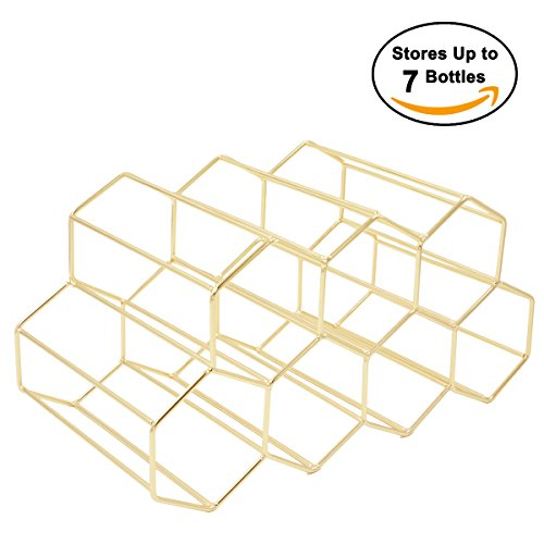 Buruis 7 Bottles Metal Wine Rack, Countertop Free-stand Wine Storage Holder, Space Saver Protector for Red & White Wines - Gold by Buruis