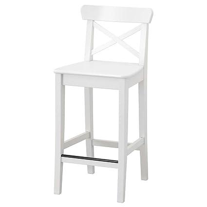 Surprising Amazon Com Ikea Asia Ingolf Bar Stool With Backrest White Inzonedesignstudio Interior Chair Design Inzonedesignstudiocom