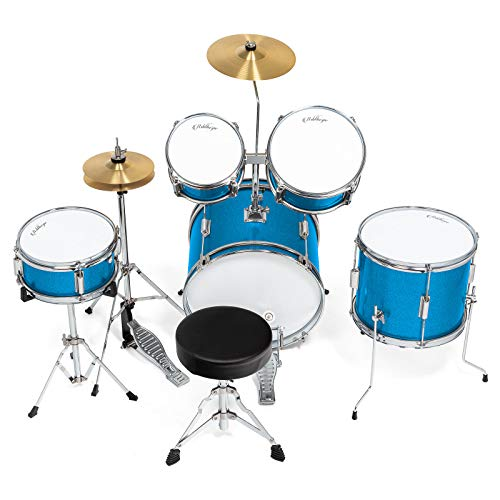 Ashthorpe 5-Piece Complete Kid's Junior Drum Set with Genuine Brass Cymbals - Children's Advanced Beginner Kit with 16'' Bass, Adjustable Throne, Cymbals, Hi-Hats, Pedals & Drumsticks - Blue by Ashthorpe (Image #3)
