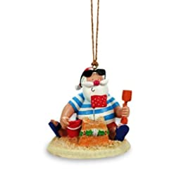 Beach Themed Christmas Ornaments Beach Santa Claus & Sand Castle Christmas Ornament beach themed christmas ornaments